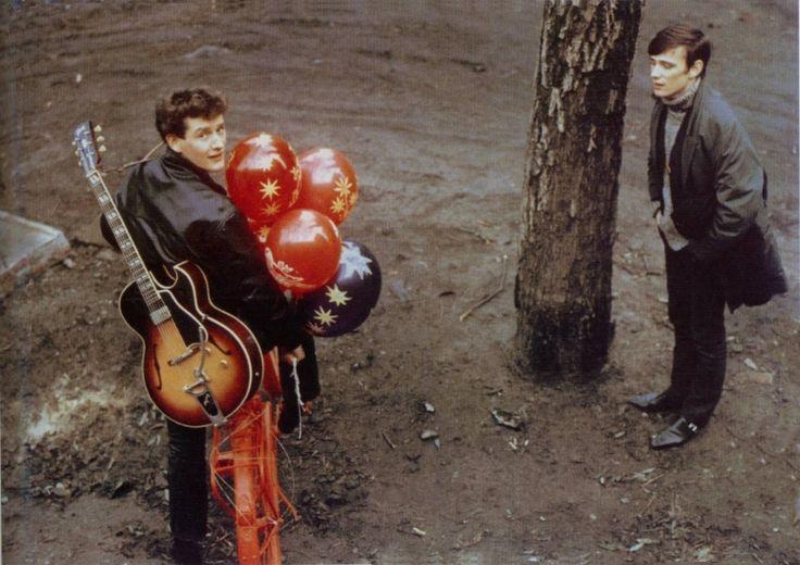 Stuart Sutcliffe with Tony Sheridan. This is probably 1962.  Remembering Tony.