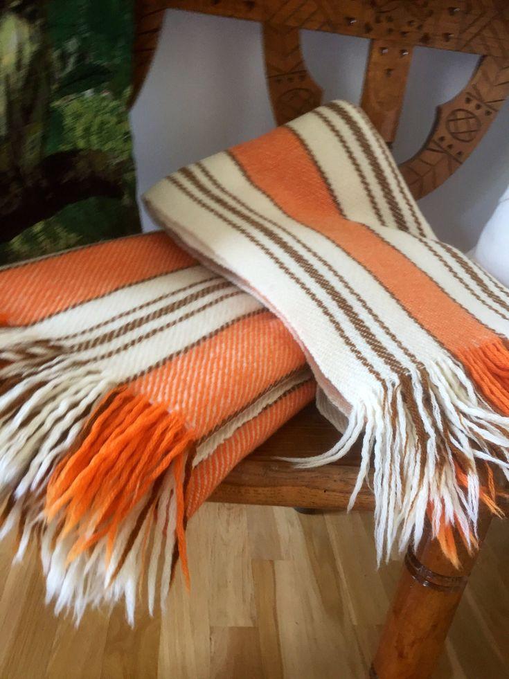Pair of /Swedish/ wool / earth tones/ wool blanket /throw/snark design/ Viola Gråsten/Sweden /midmod by WifinpoofVintage on Etsy