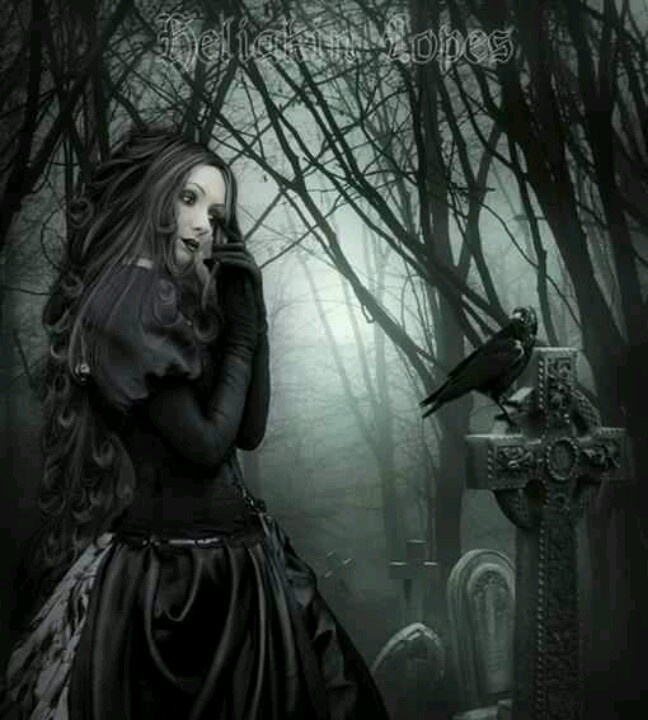 Gothic widow with raven
