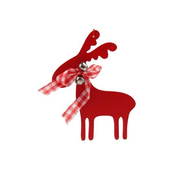 Nice wooden Christmas ornament, in the shape of a reindeer with bow and bell. This ornament is red and 10,5 x 13,5 cm.