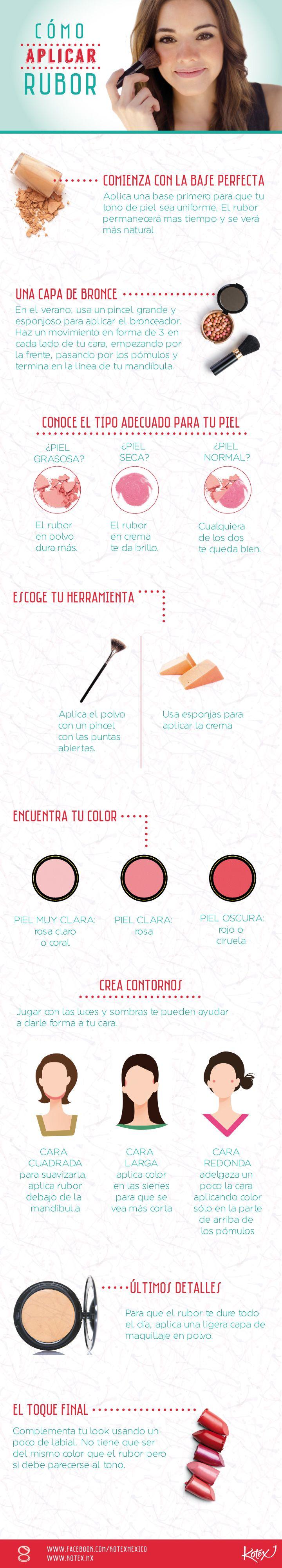La técnica perfecta para aplicar el rubor, en una infografía. #Makeup #Belleza
