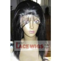 "12"" yaki Straight #1 Lace front wigs 100% indian remy Human hair [SSF003]"