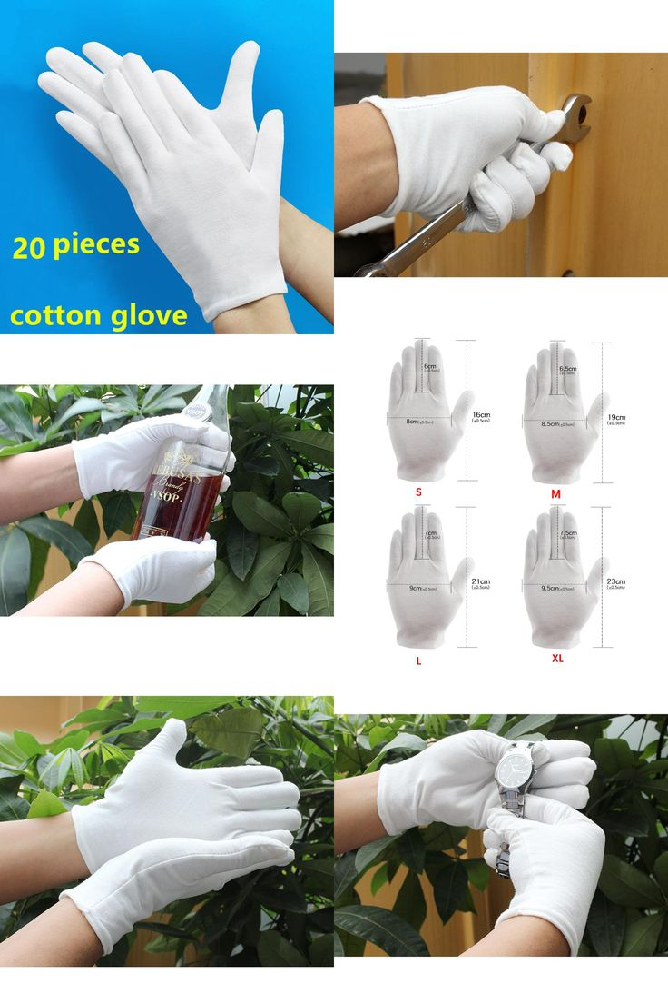 [Visit to Buy] 20 PCS Thick gardening cleaning cotton Glove Housework hand protector S L XL White garden genie guantes jardineria rukavice Bar #Advertisement