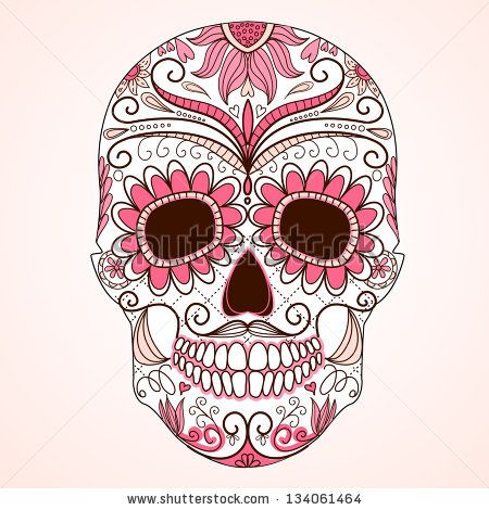 Day of The Dead colorful Skull with floral ornament by alicedaniel, via Shutterstock