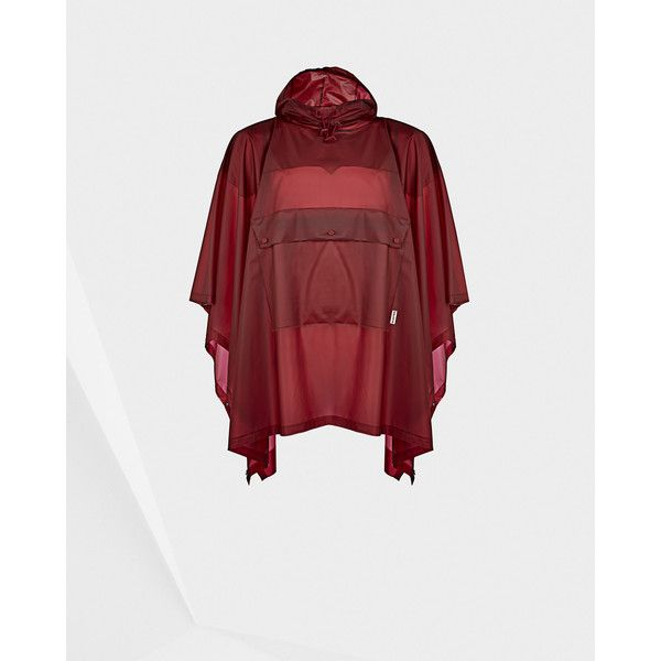 Hunter Original clear poncho ($230) ❤ liked on Polyvore featuring outerwear, military red, hooded poncho, red poncho, military poncho, clear poncho and waterproof poncho