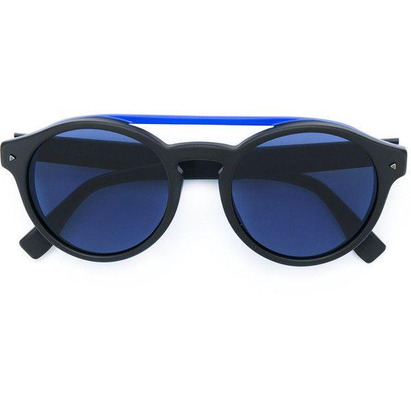 Fendi Eyewear I See You sunglasses ($360) ❤ liked on Polyvore featuring accessories, eyewear, sunglasses, black, acetate sunglasses, double bridge sunglasses, round sunglasses, rounded sunglasses and round acetate sunglasses