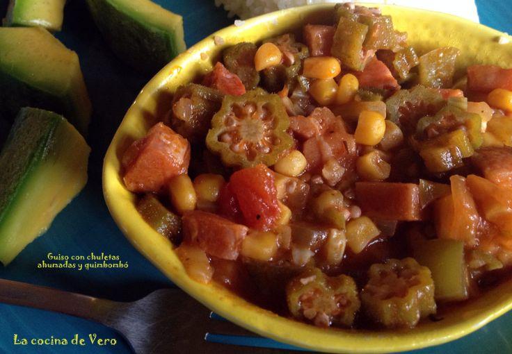 Guiso de chuletas ahumadas y quimbombó #recetascubanas #cuba