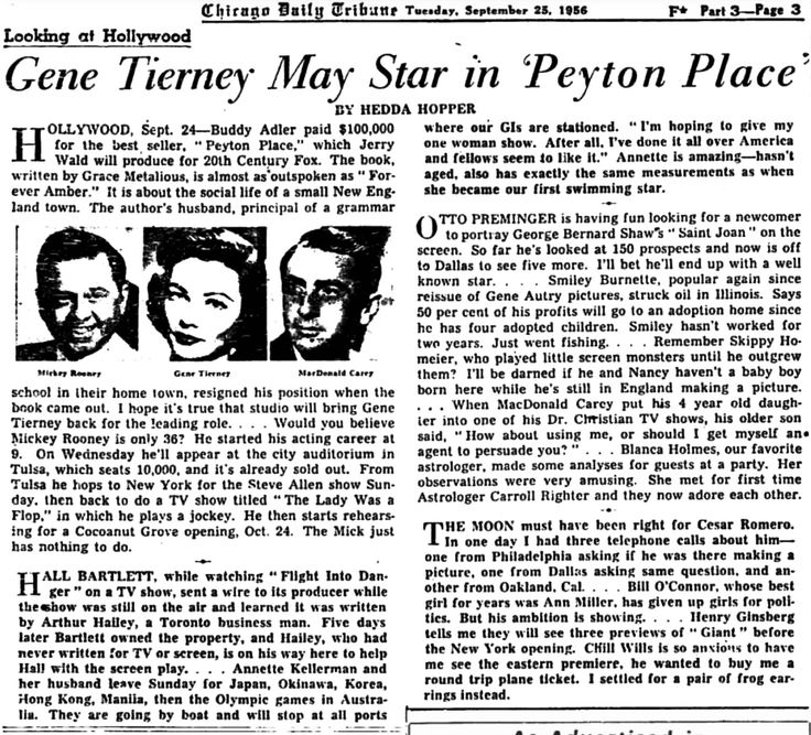 Looking at Hollywood by Hedda Hopper;‬ ‪Annette Kellerman…leave for Okinawa… ‪※9/25/1956,Chicago Tribune‬