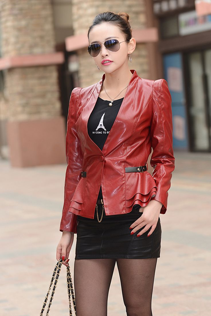 Veste En Cuir Femme Jaqueta De Couro Feminina New Fashion Wild Ladies Leather Blazer Women Zipper V-neck Full Sleeve Classic