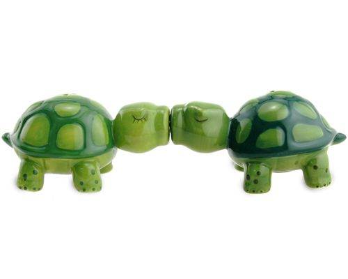 Turtle Salt & Pepper Shakers from catching fireflies  Add a little amoré to your kitchen table with these adorable kissing salt & pepper shakers.  A tiny magnet holds these two turtles in a big smooch.  What a cute pair they make with their lips locked together!  The amorous pair have differently shaded green shells and detailed eyelashes.  So cute your guests won't be able to resist them.