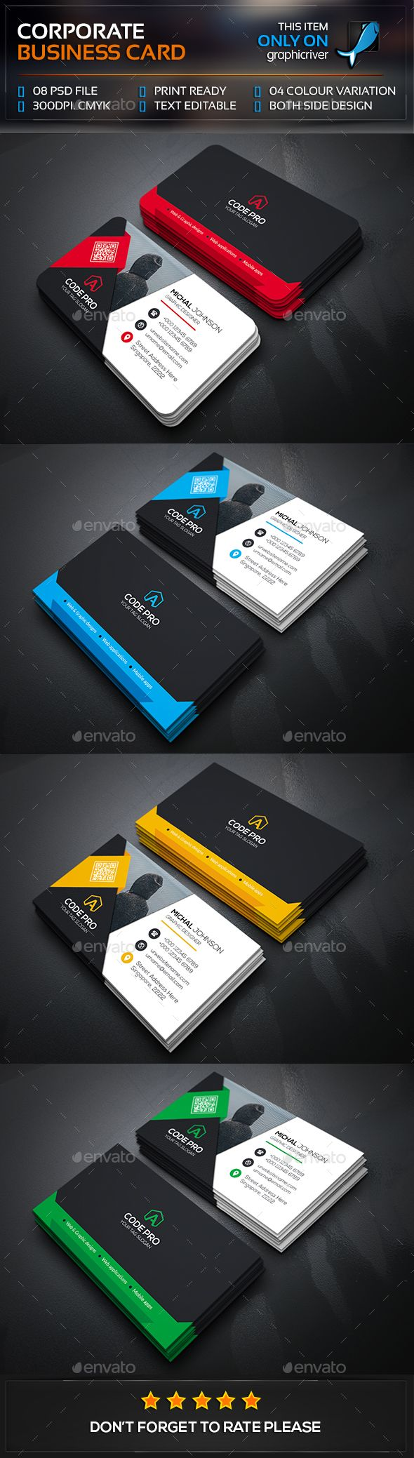 Smart Corporate Business Card — Photoshop PSD #magagine #print • Available here → https://graphicriver.net/item/smart-corporate-business-card/13472300?ref=pxcr