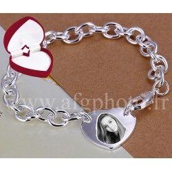 Bracelet coeur bombé - PORT GRATUIT