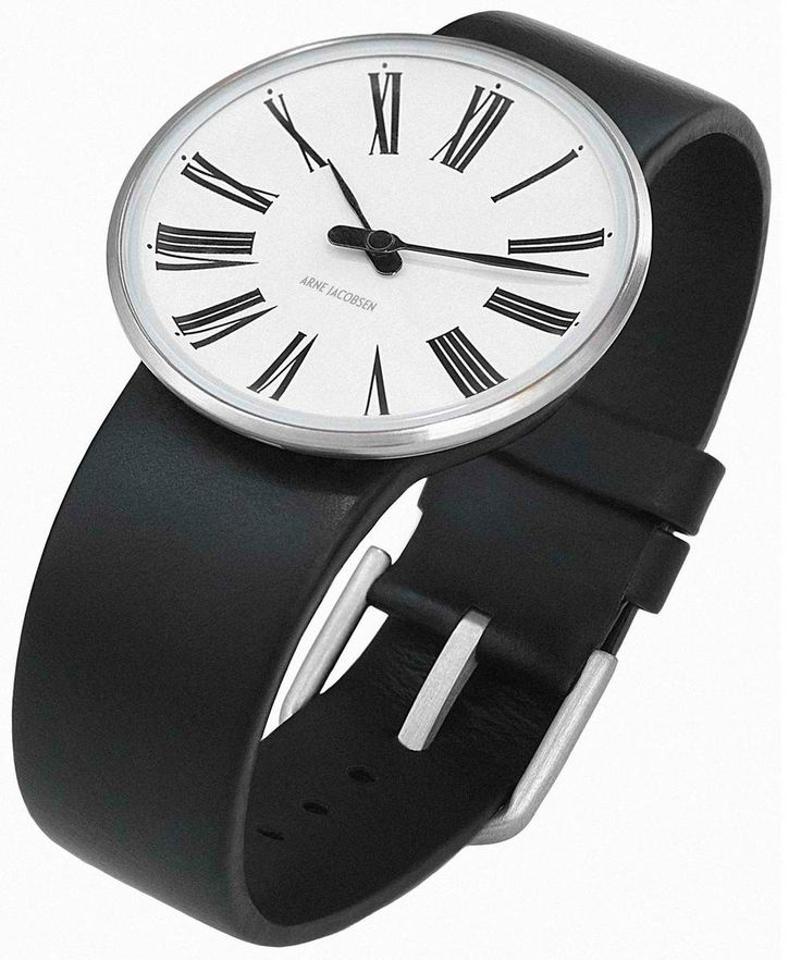 Arne Jacobsen Roman Watch White with Black Strap visit shopbalthazar.com
