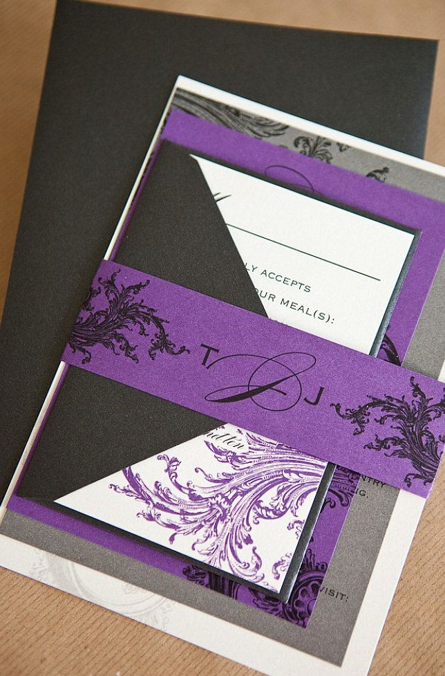 Limeade Wedding Invitation Suite with Belly Band - Purple, Black, Pewter Silver, and Off-White/Light Ivory. $3.99, via Etsy.