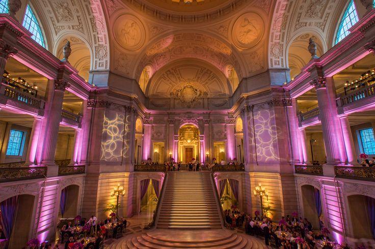 San Francisco Symphony Opening Night Gala 2014 - Lighting Design by Got Light. Pattern Wash, Wall Wash, pink, fuchsia, uplights, uplighting, San Francisco City Hall