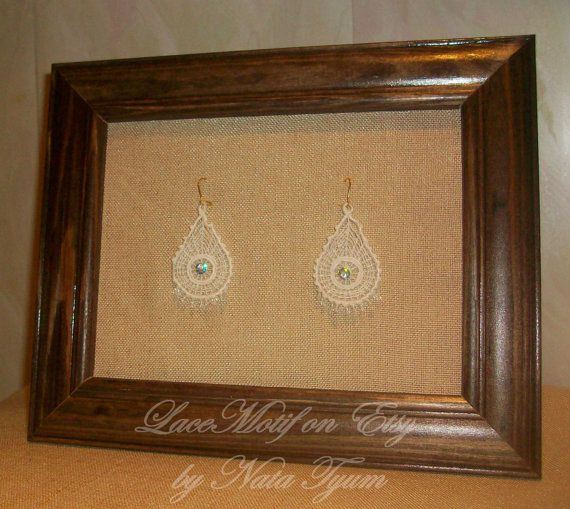 White embroidered Lace Earrings whith beads and straz by LaceMotif, $12.95