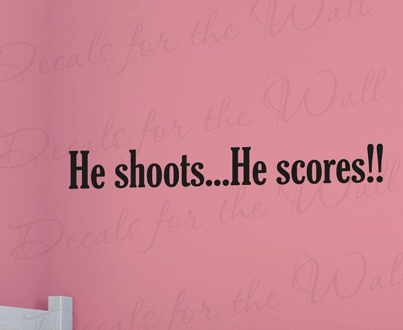 He Shoots He Scores Basketball Soccer Boy by DecalsForTheWall, $15.97