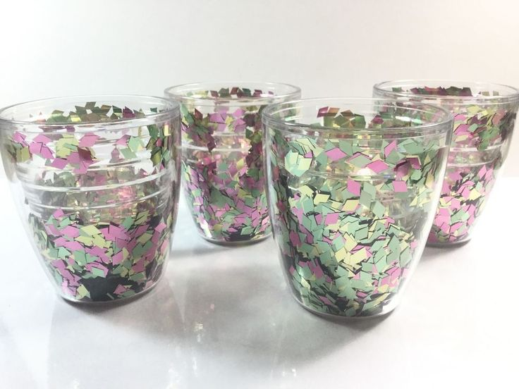 Tervis Confetti Glitter Insulated Tumblers 12oz set of 4 RARE HTF Cups #Tervis