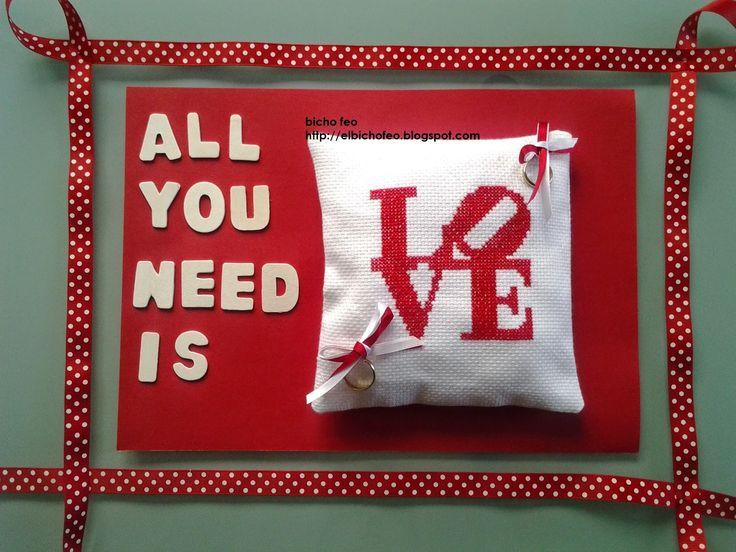 http://elbichofeo.blogspot.com cuscino porta fedi ricamato a punto croce ...borse, accessori e altro...: wedding time