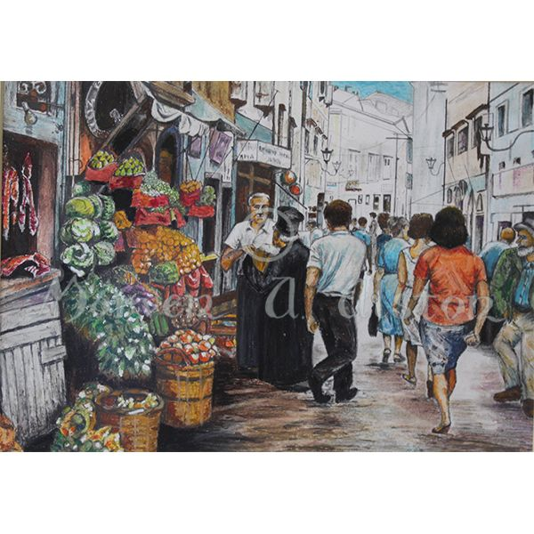Market, Corfu by Morven A. Alston. Artwork created in: Corfu