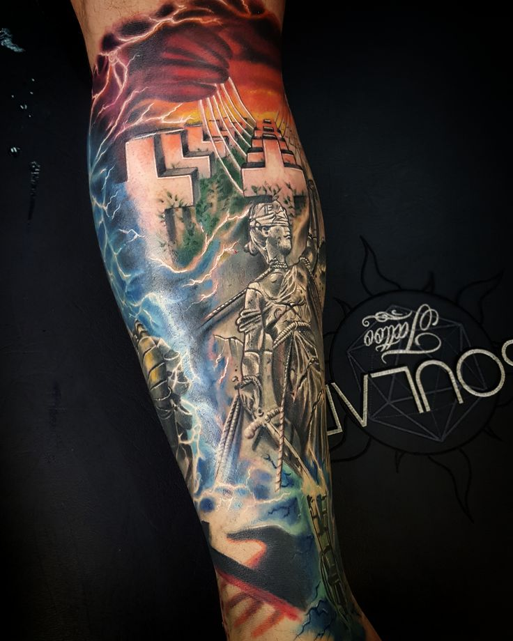 Metallica album cover leg tattoo by Matt Parkin @ Soular Tattoo