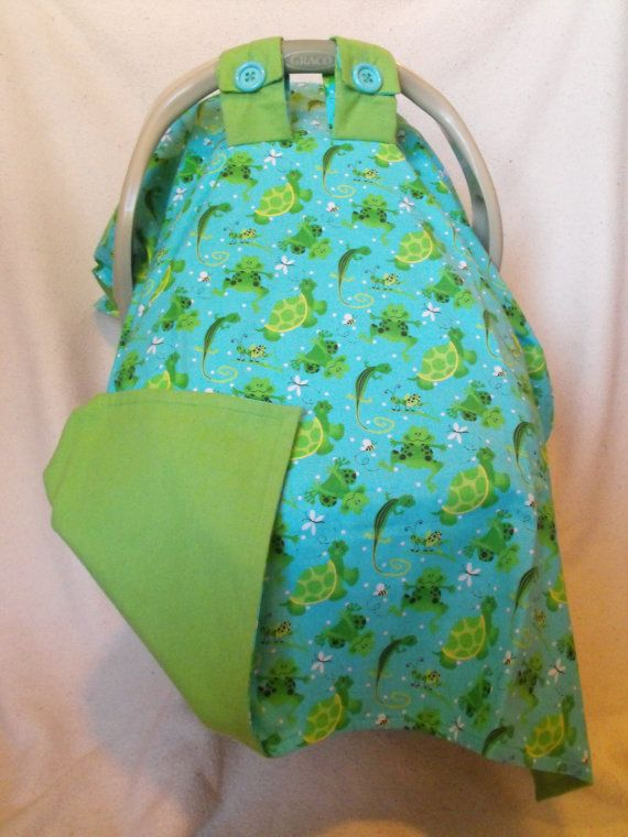 New Item Frog and Turtles Infant baby carseat by babycreations123, $24.99