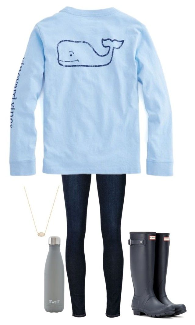 """""""•we do this every night•"""" by simply-preppy-girl ❤ liked on Polyvore featuring Frame Denim, Hunter, S'well and Kendra Scott"""