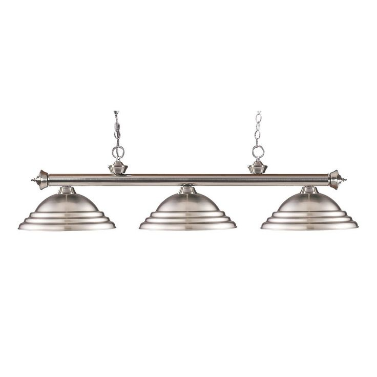 zlite riviera 14in w 3light brushed nickel kitchen island light with ribbed shade 2003bnsbn