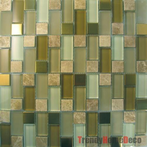10SF Gold Metal Stone Crystal Glass Mosaic Tile Backsplash Kitchen Wall  Sink   EBay