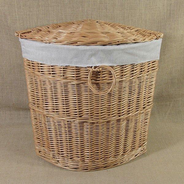 Wiklinowy kosz na bieliznę z materiałowym wkładem wzór - melanż