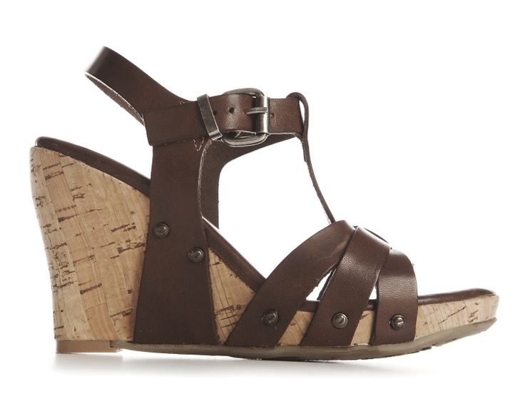 Cannes brown leather wedges