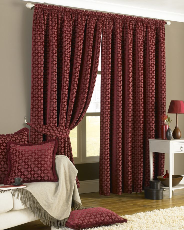"Belmont Pencil Pleat Curtains - Red - 90x90"" / 229x229cm"