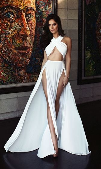 He's Mine White Sleeveless Cross Wrap Cut Out Halter Double Slit Maxi Dress