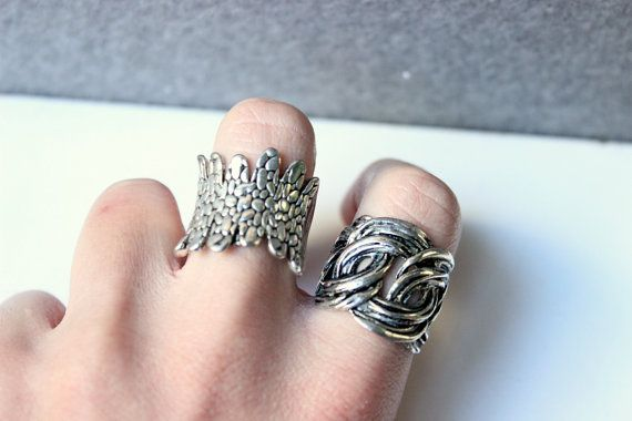 Anello intrecciato maxi anello anello argentato di Stonivine