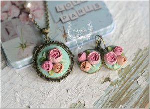 Sirop de trandafiri Polymer clay flowers  Summer flowers Pastel flowers by Zubiju
