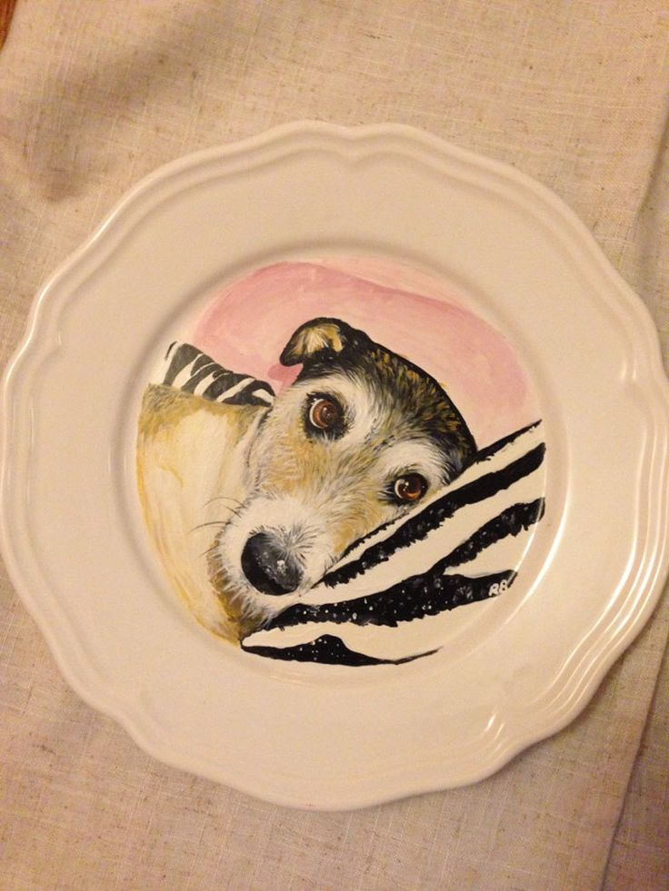 Dog portrait hand painted on to ceramic plate 'In loving memory of Megan' by MyMiniShedio on Etsy https://www.etsy.com/listing/264099793/dog-portrait-hand-painted-on-to-ceramic