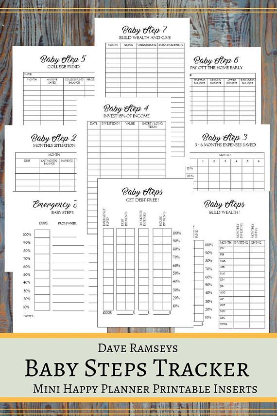 Baby Steps Tracker Printable Planner Pages For The Mini ...