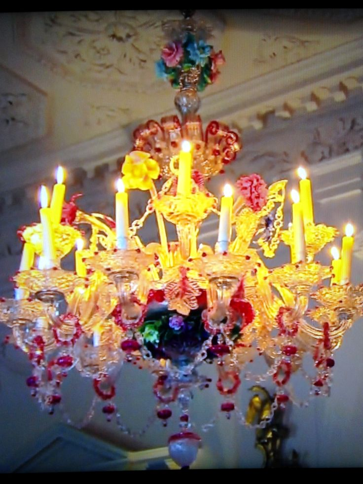 17th century Murano glass chandelier Dumfries House England. One ...