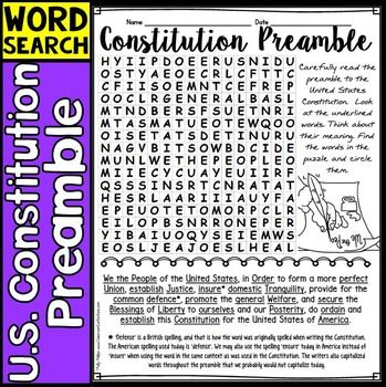 """Constitution Preamble: How about discussing the US Constitution Preamble with your students. They may have read it during your history lessons, but do know what the words mean? This is a great way to get them talking. Your students will enjoy this fun """"Constitution Preamble"""" word search!!"""