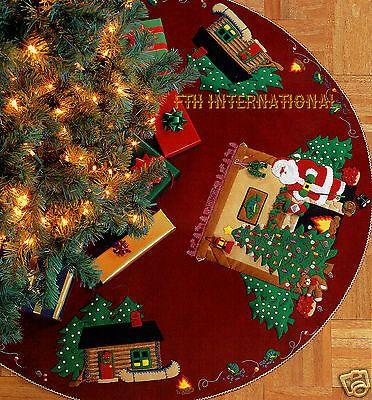 """Bucilla Santa's Lodge ~ 43 """"Fieltro árbol de Navidad Falda Kit # 84276, pesca, cabina Más"""