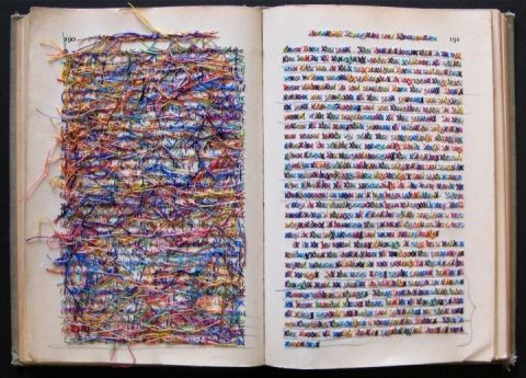 Lauren DiCioccio : cross-stitched books  http://www.laurendicioccio.com/objects/cross-stitched-books