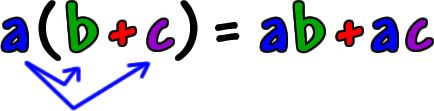 a ( b + c ) = ab + ac