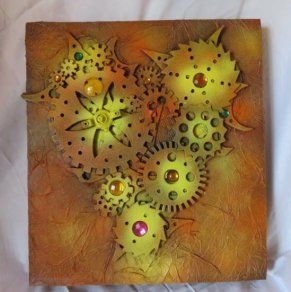"""Mixed media No. 4 by Chris Quinlan Art - 18"""" x 16"""",  Original piece, Acrylic paint, wood, paper on canvas"""