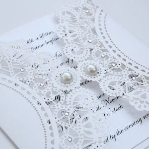 Vintage Style Lasercut White Lace Doily Invitation - gave me a DIY idea
