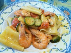 Paccheri con Mazzancolle, zucchine e pomodorini