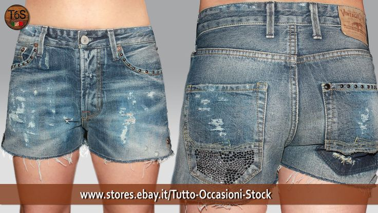 Short Bermuda  Donna Denim Vintage  Vita Alta Pantaloncini Pantaloni corti
