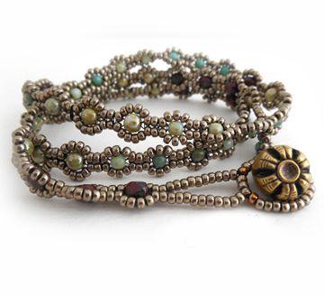 Bohemian Blossom Wrap Beaded Bracelet Pattern By Carole Ohl At Bead Patterns .com