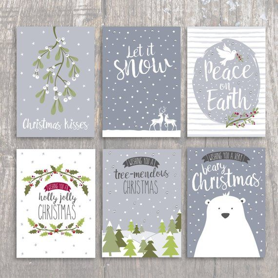 Christmas Card Pack Multi Pack Soft Grey Christmas Cards Mixed Designs Hand Finished Christmas Card Packs Christmas Card Set Christmas Card Design