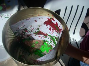 Oldie but a goodie!  Rock Rumble Shake Painting!  (A great way to do messy art...while containing the mess!)