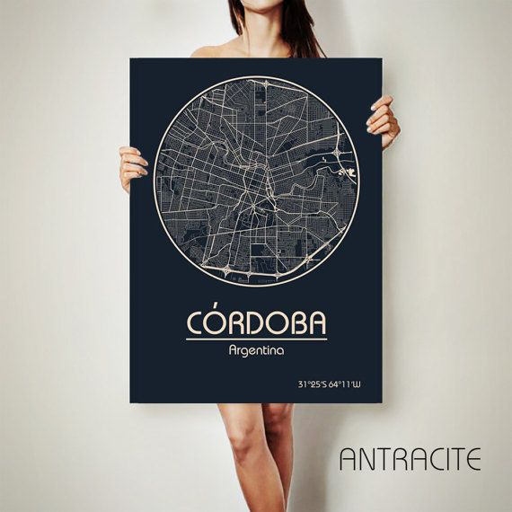 Córdoba Argentina CANVAS Map Córdoba Argentina Poster City Map